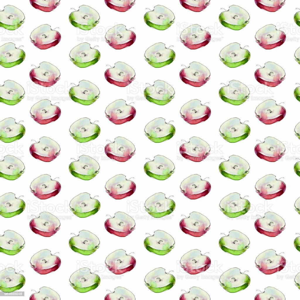 Seamless pattern with red and green watercolor slice of apple royalty-free seamless pattern with red and green watercolor slice of apple stock vector art & more images of art