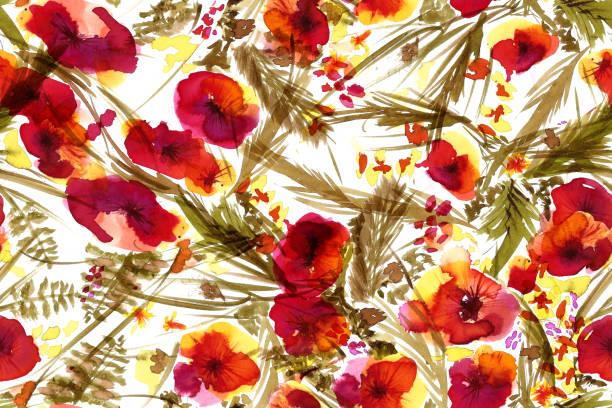 Patrón sin costuras con flores de acuarela rojas y naranjas y hojas verdes - ilustración de arte vectorial