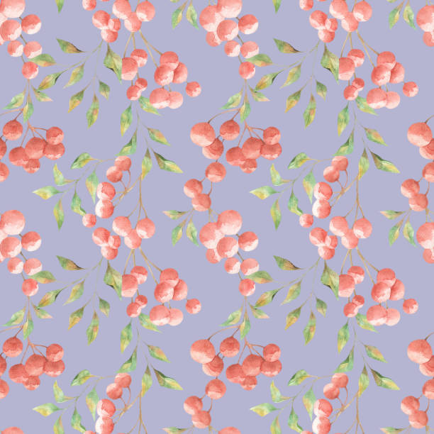 Seamless pattern with red berries. Watercolor painting vector art illustration