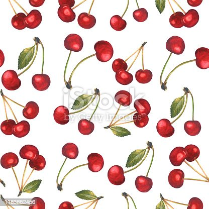 istock Seamless pattern with red cherries isolated on white. 1183882456