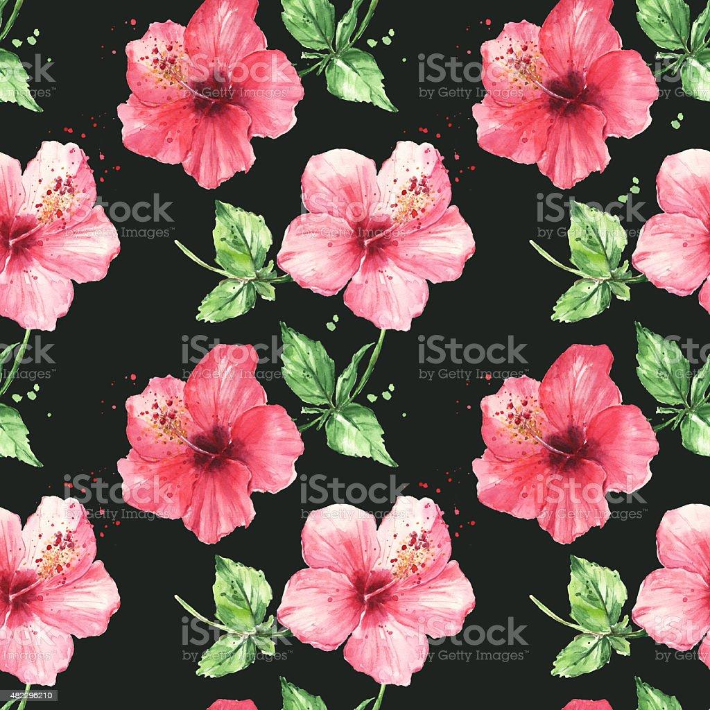 Seamless pattern con fiori di ibisco rosso illustrazione for Piani di piantagione hawaiana