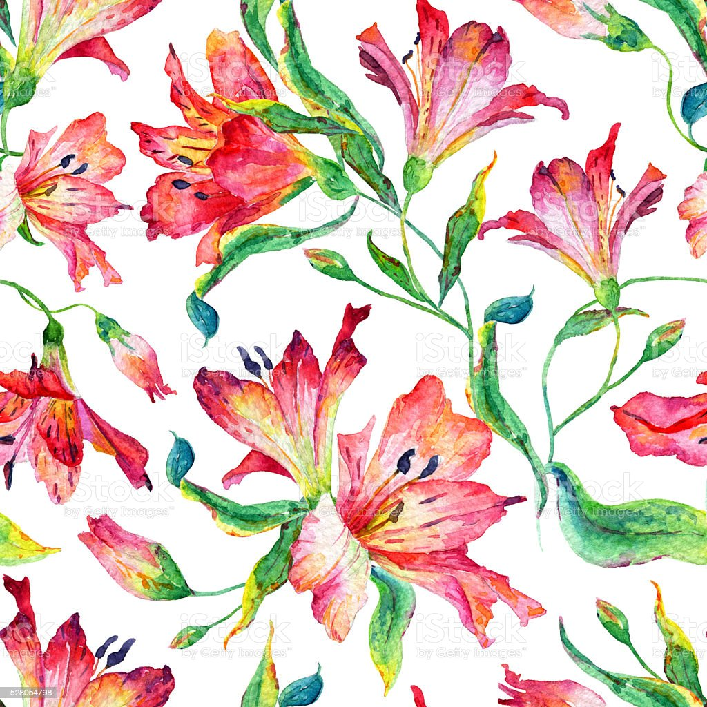 Patrón continuo con rojo lilies. - ilustración de arte vectorial