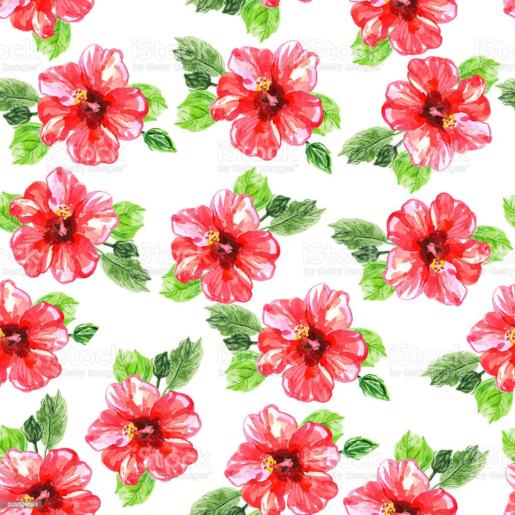 Seamless pattern with red watercolor hibiscus flowers stock vector seamless pattern with red watercolor hibiscus flowers royalty free stock vector art izmirmasajfo