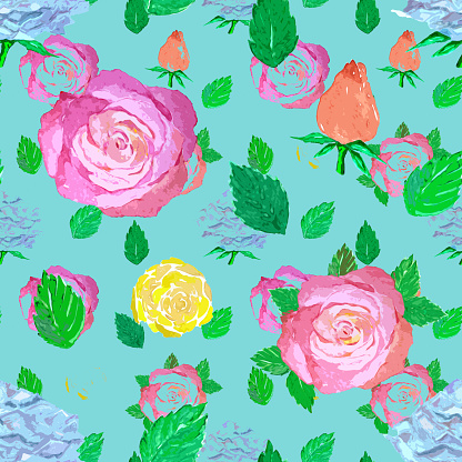 Seamless pattern with roses, leaves and rosebuds, bright illustration for wrapping paper.