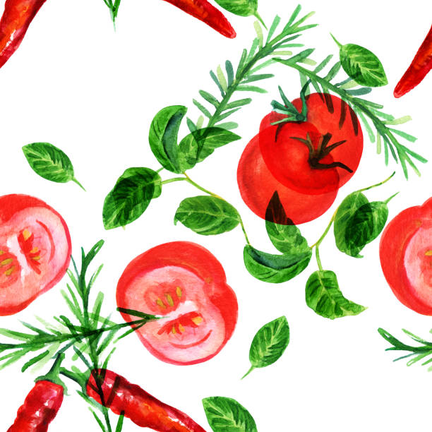 Seamless pattern with rustic style watercolor vegetables vector art illustration