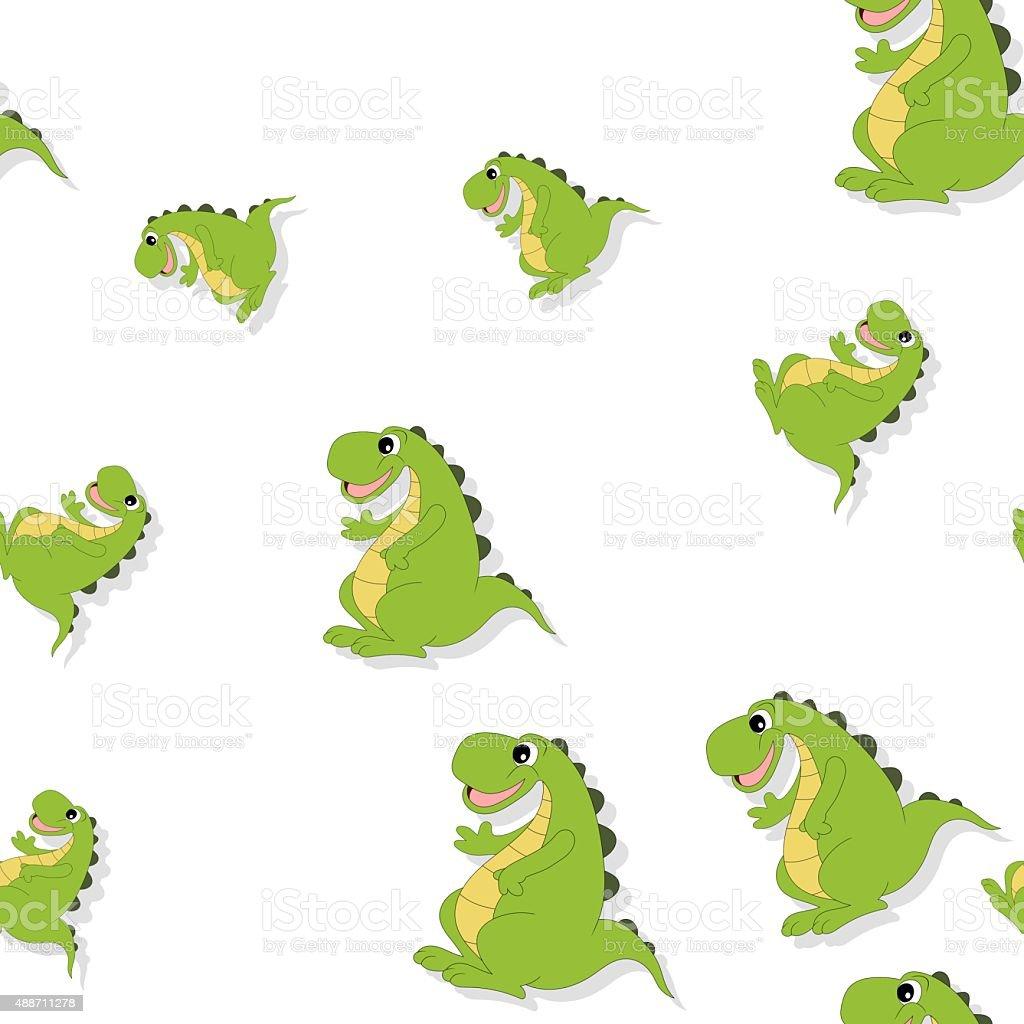 Patrón Sin Costuras Con Sonriente Dragon Sobre Blanco Illustracion ...