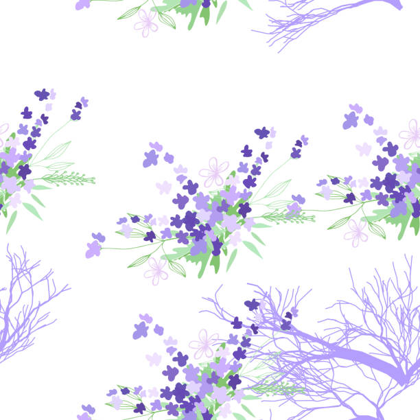 Seamless pattern with summer flowers and leaves on a white background vector art illustration