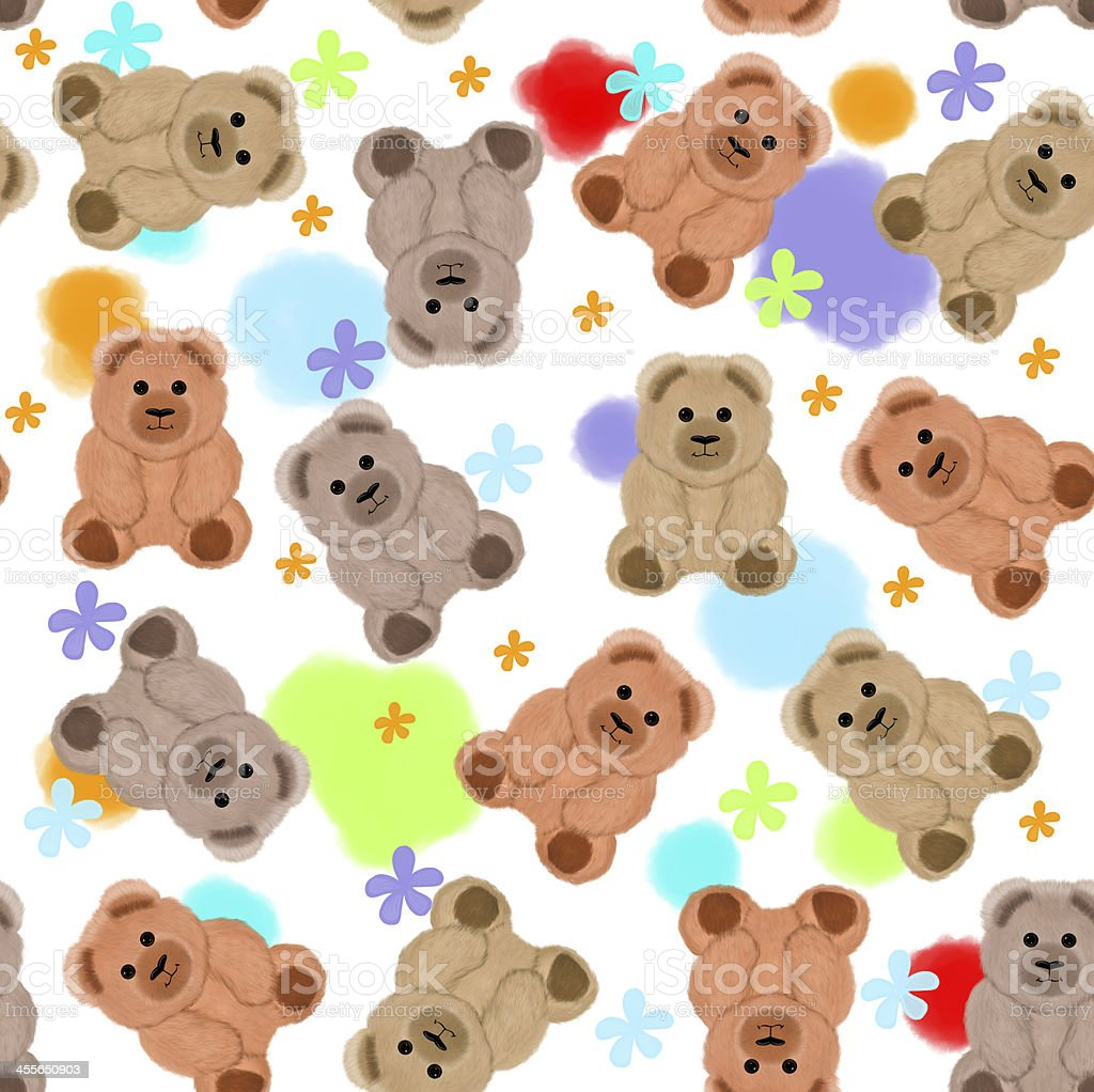 Seamless Pattern With Teddy Bears And Flowers Stock
