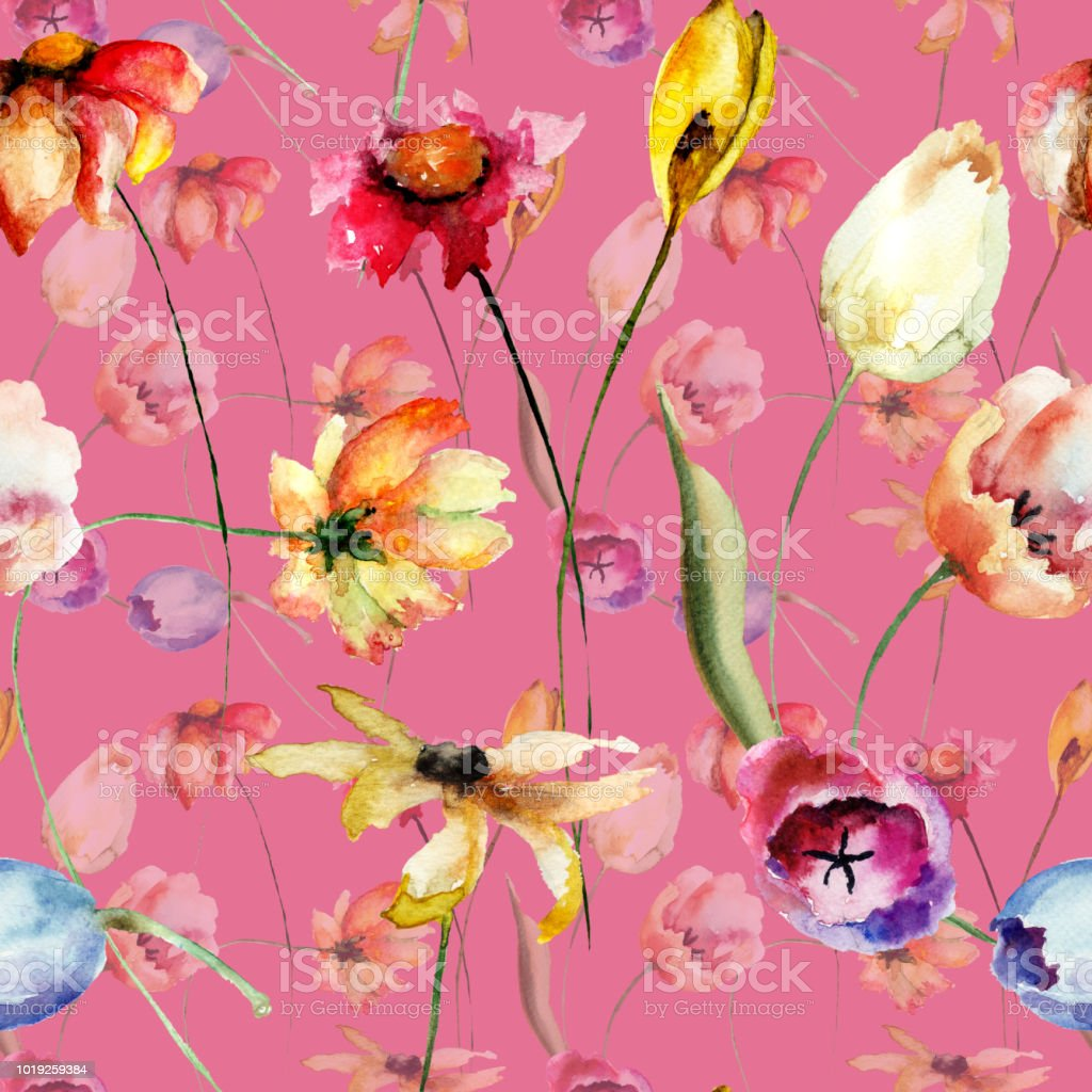 Seamless pattern with Tulips and Gerber flowers vector art illustration