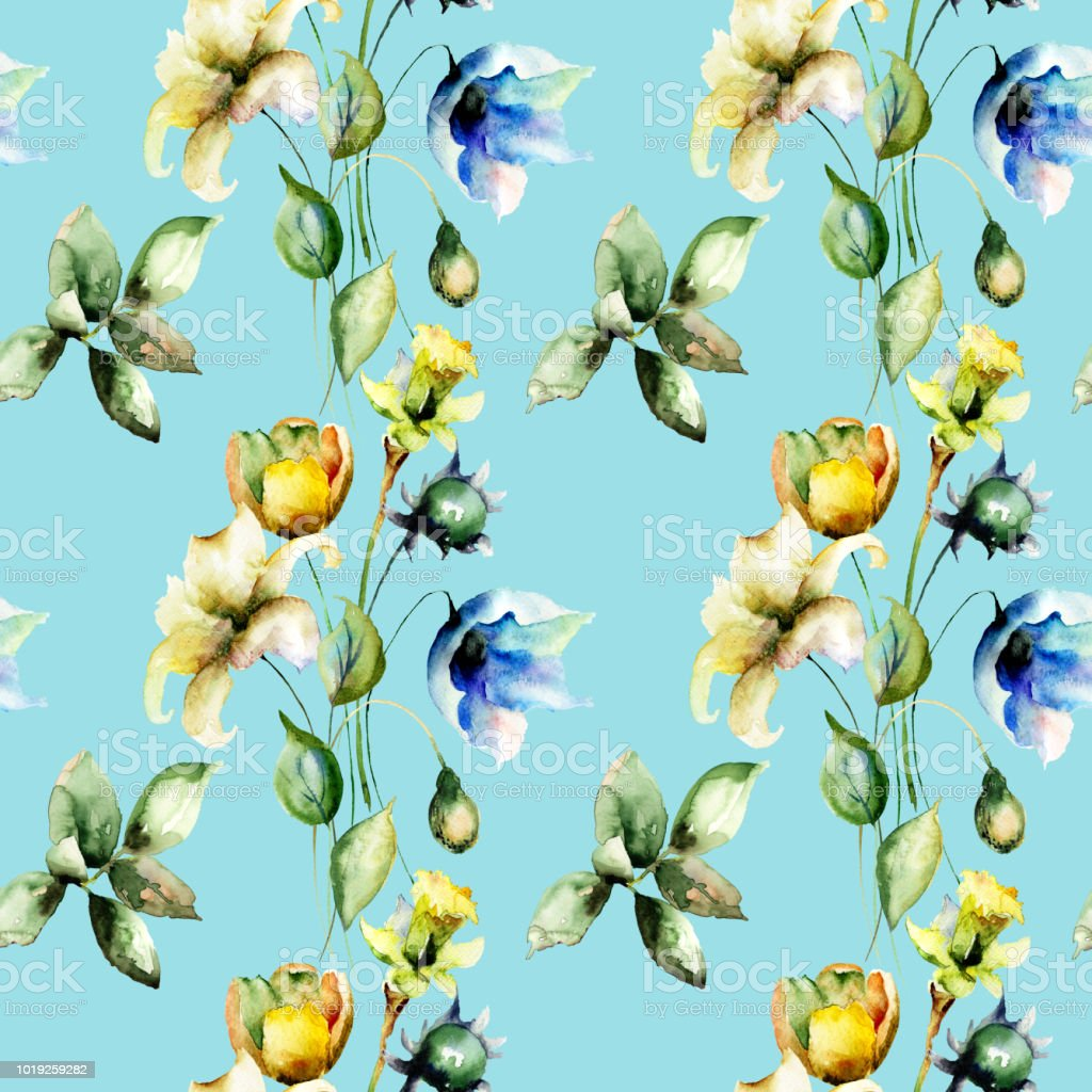 Seamless pattern with Tulips and Lily flowers vector art illustration