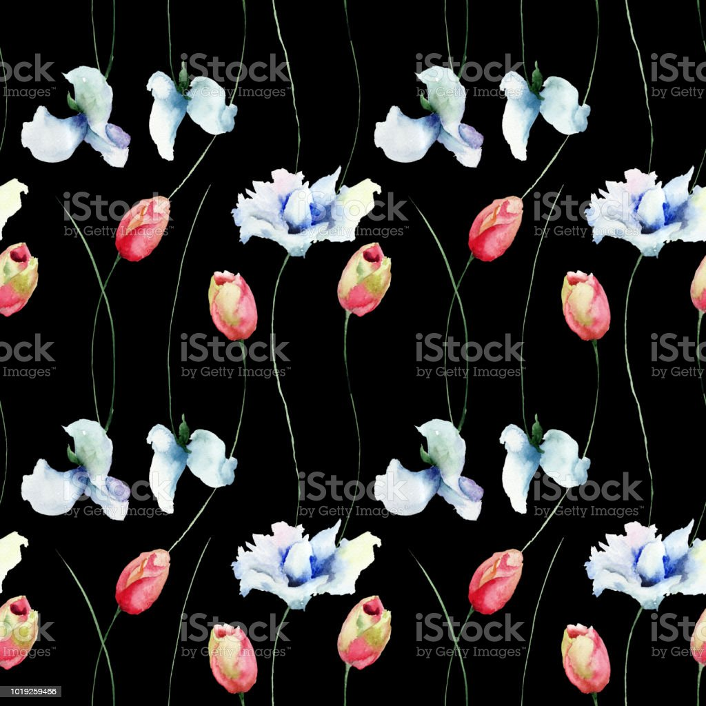 Seamless pattern with Tulips and Sweet pea flowers vector art illustration