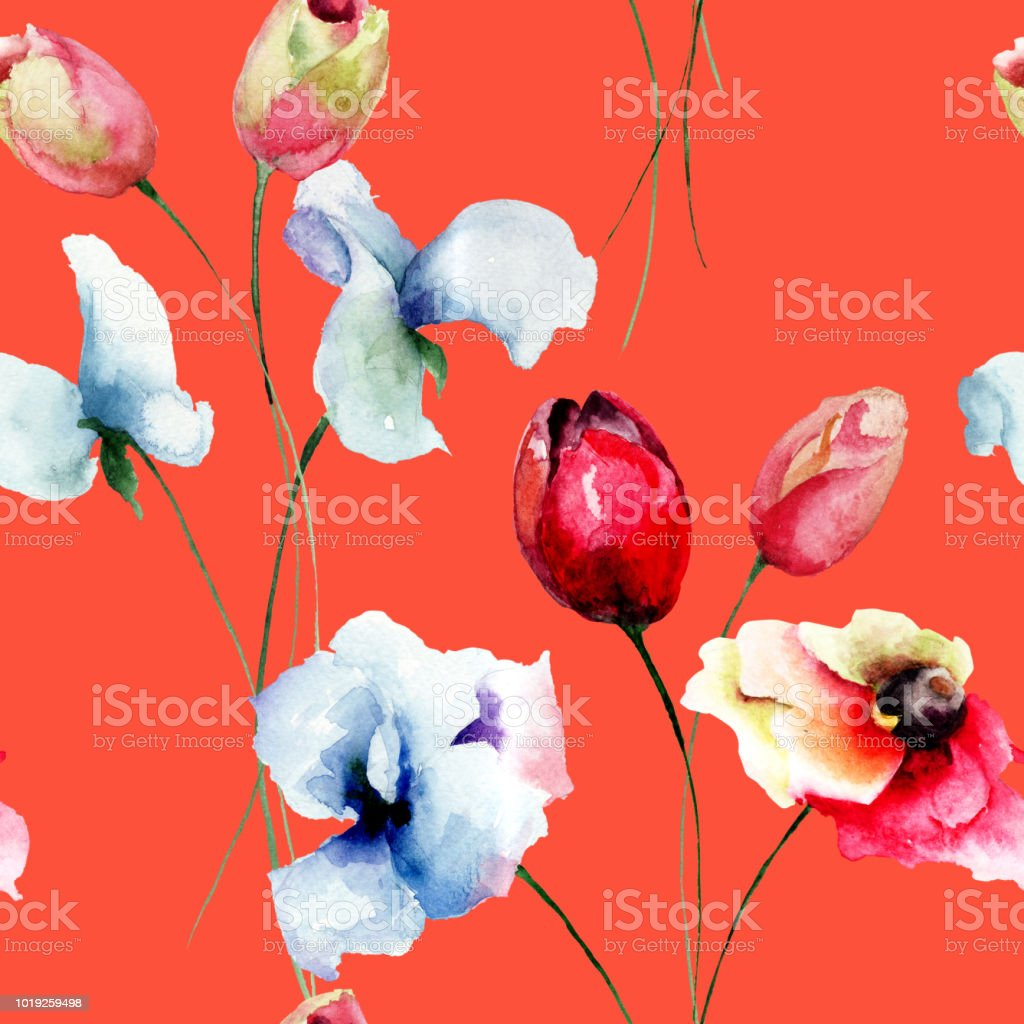 Seamless pattern with Tulips, Poppy and Sweet pea flowers vector art illustration