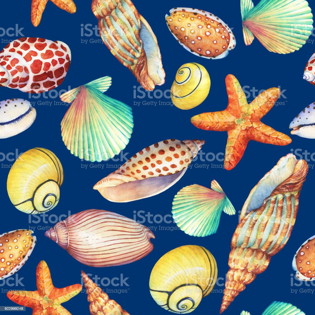 Seamless Pattern With Underwater Life Objects Isolated On Dark Blue Background Marine Design