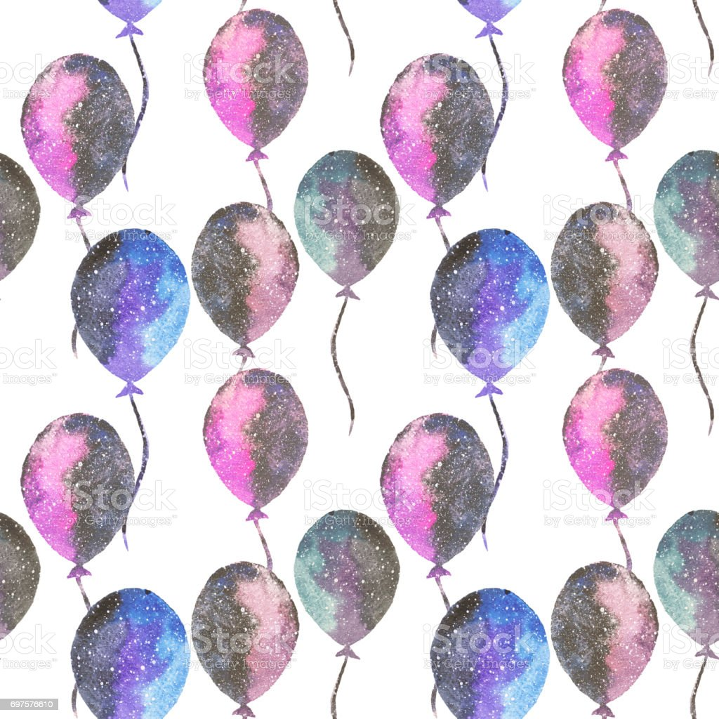 Seamless pattern with watercolor balloons in beautiful colors of space vector art illustration