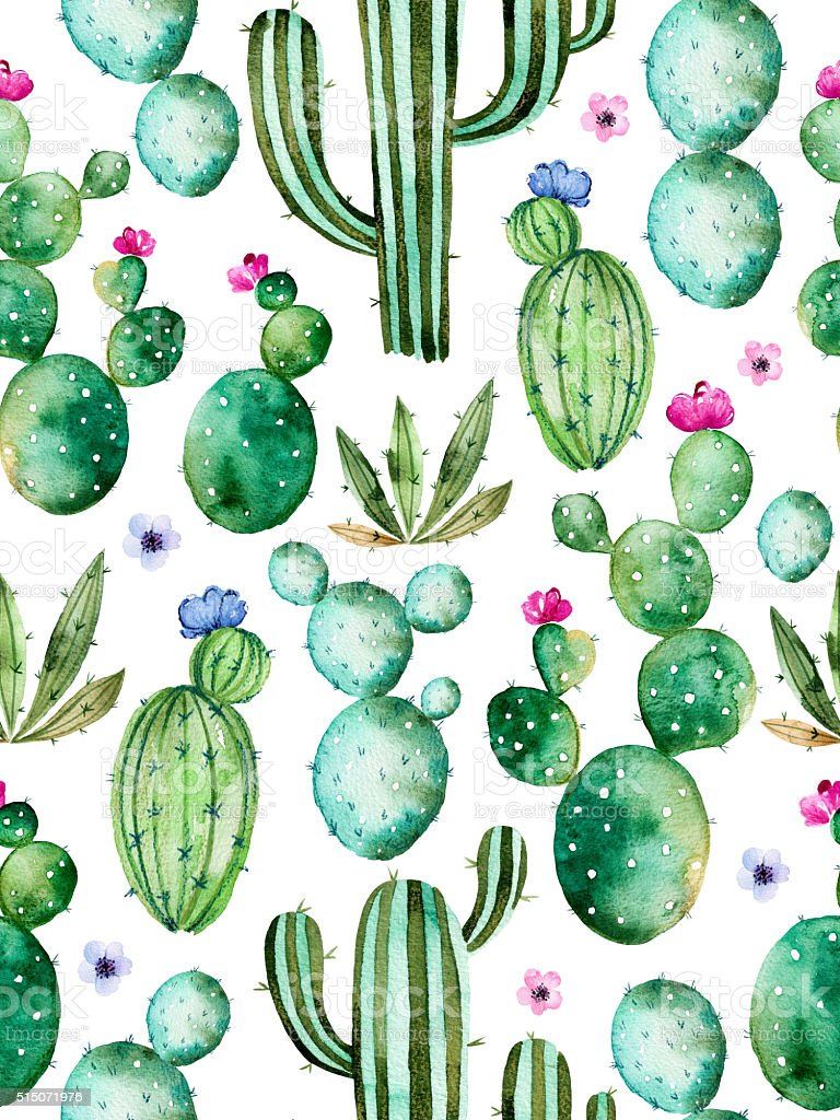 Seamless pattern with watercolor cactus plants vector art illustration