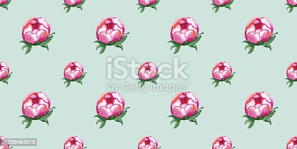 istock Seamless pattern with watercolor drawing pink peony flower 1339464015