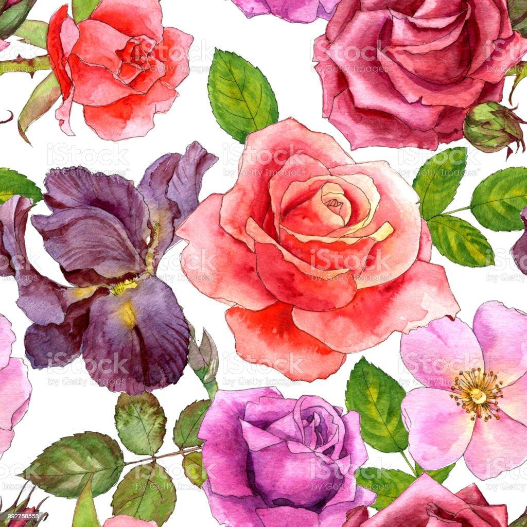 ilustração de padrão sem emenda com rosas desenho aquarela e mais