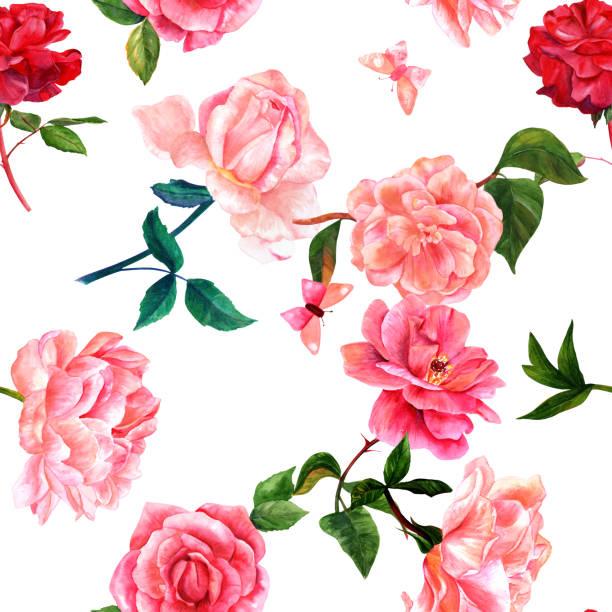 illustrazioni stock, clip art, cartoni animati e icone di tendenza di seamless pattern with watercolor flowers and butterflies on whit - farfalla ramo