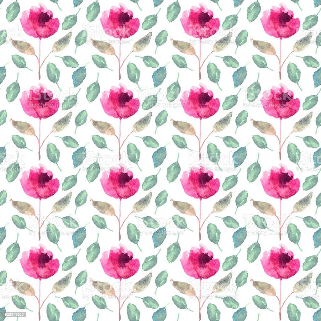 Sulu Boya çiçekler Yapraklar Ile Seamless Modeli Stok Vektör Sanatı