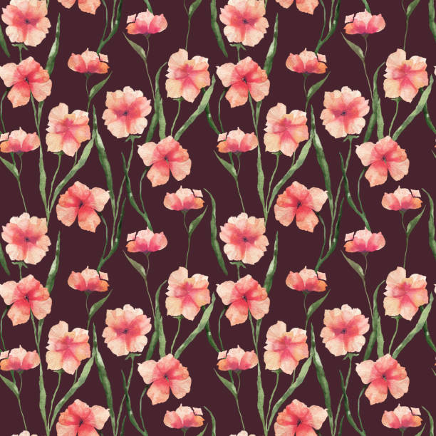 Seamless pattern with watercolor flowers. Orange flowers on a colored background. vector art illustration