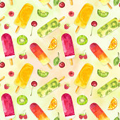 istock Seamless pattern with watercolor fruit popsicles and berries on colorful background. 1306684803