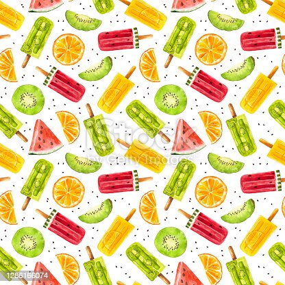 istock Seamless pattern with watercolor fruit popsicles with watermelon, kiwi and orange isolated on white background. 1286166074