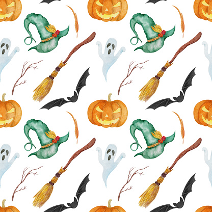 Seamless pattern with watercolor hand painted witch hat, pumpkin, bat, ghost.