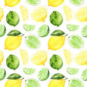 Seamless pattern with watercolor lime, lemon on white background