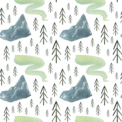Seamless pattern with watercolor nature elements. Blue mountain, green northern lights, fir trees. Forest landscape, doodle style.
