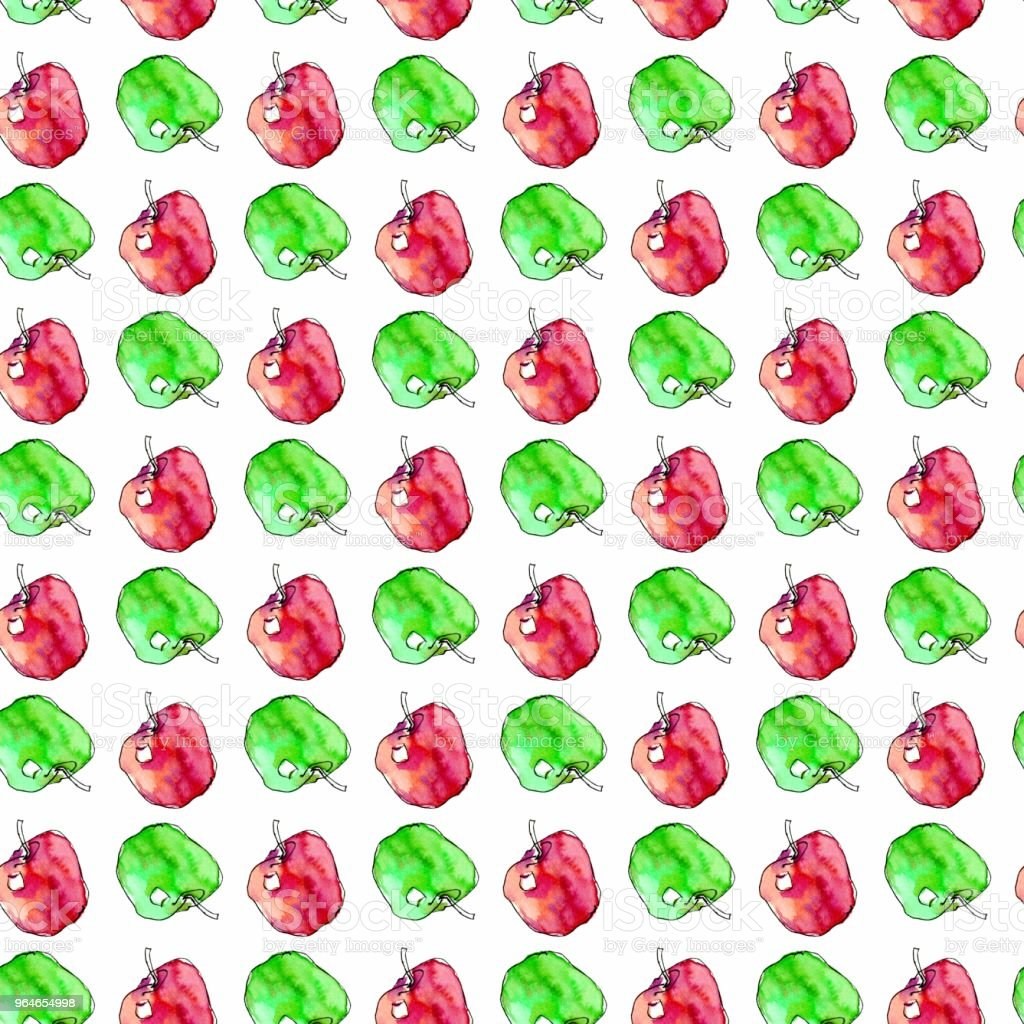 Seamless pattern with watercolor red and green apples royalty-free seamless pattern with watercolor red and green apples stock vector art & more images of art