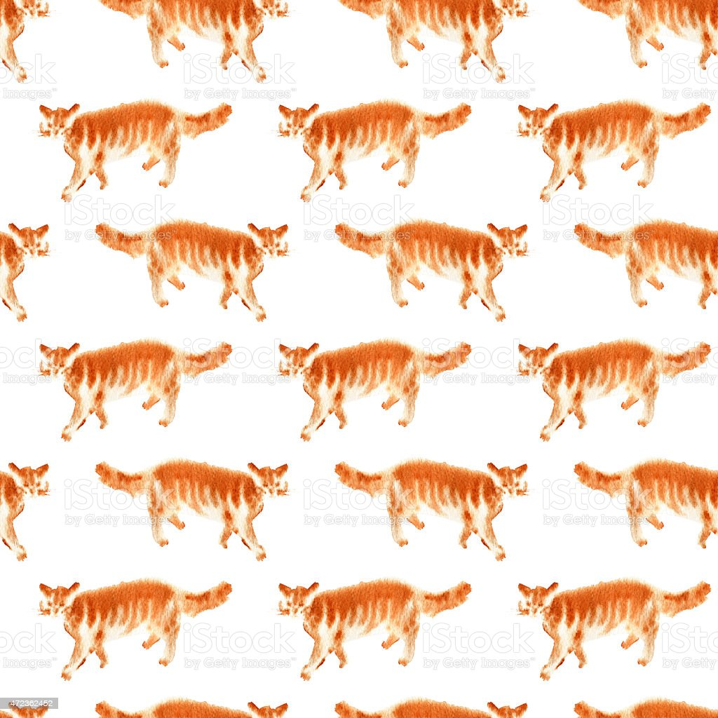 Seamless pattern with watercolor red cats vector art illustration