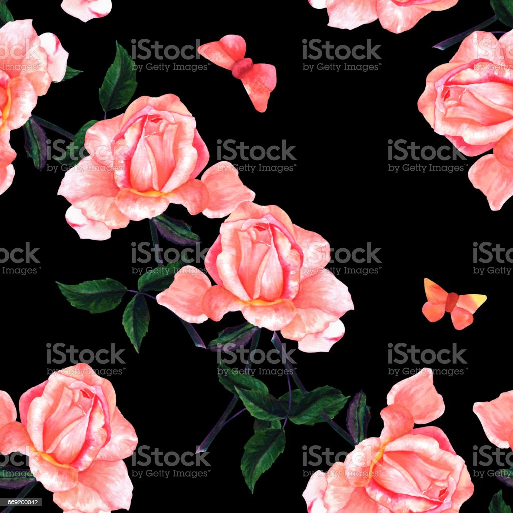 Seamless pattern with watercolor rose and butterfly on black vector art illustration