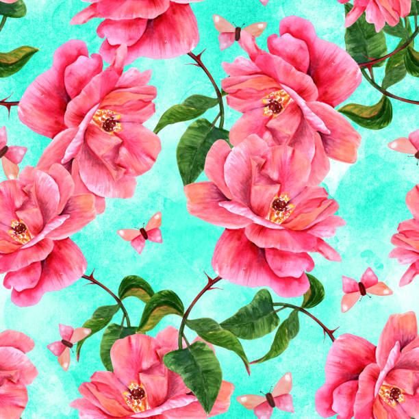 illustrazioni stock, clip art, cartoni animati e icone di tendenza di seamless pattern with watercolor rose and butterfly on teal - farfalla ramo