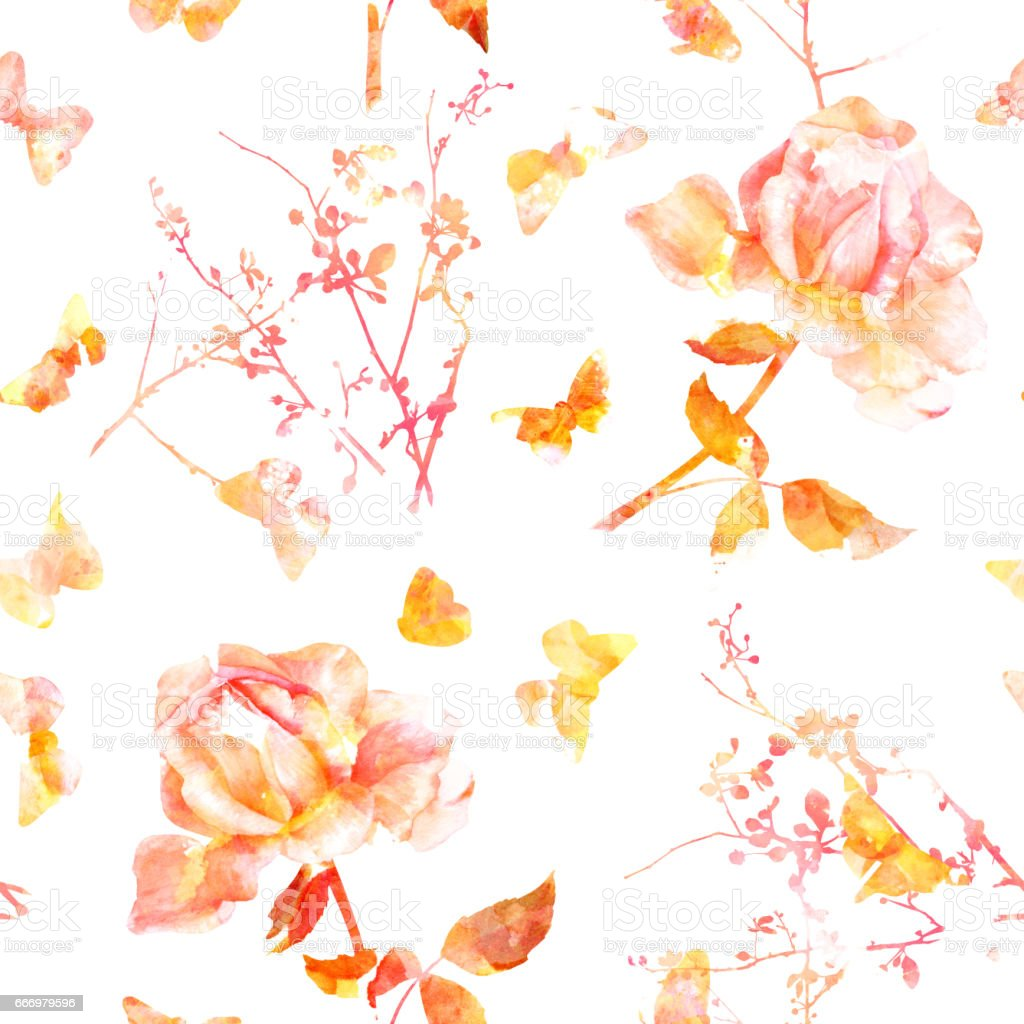 Seamless pattern with watercolor roses, brunches, and butterfles vector art illustration