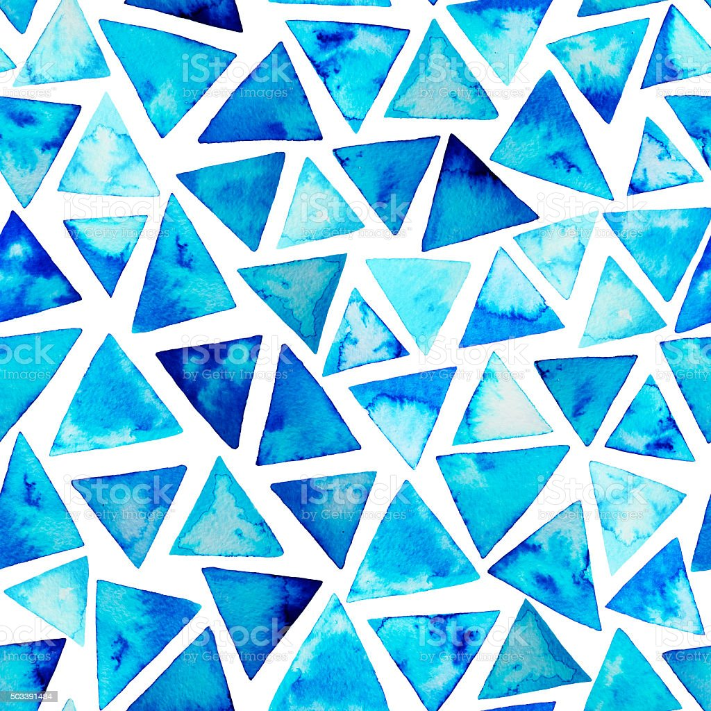 Seamless pattern with watercolor triangles. vector art illustration
