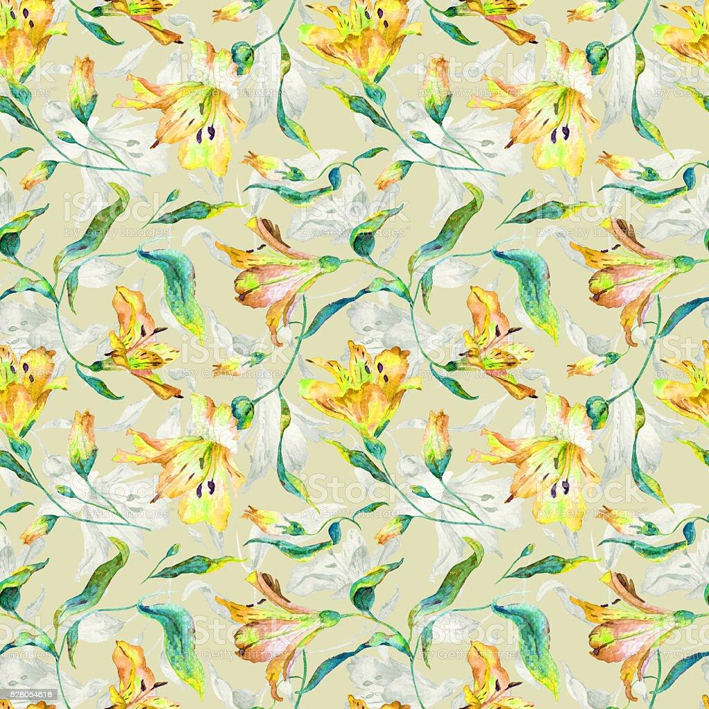 Patrón continuo con amarillo lilies. - ilustración de arte vectorial
