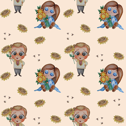 Seamless patterns. A handsome guy in embroidered shirt with a sunflower in his hand and a cute girl sitting with a bouquet of yellow flowers on a pink background with bees. Watercolor. Hand drawing