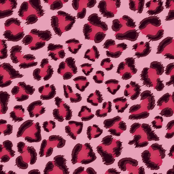 seamless pink leopard texture pattern. - leopard texture stock illustrations, clip art, cartoons, & icons