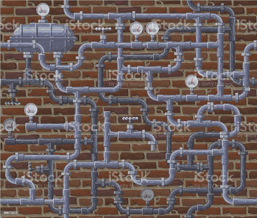 Seamless pipeline and brick wall background - Royaltyfri Avlopp vektorgrafik