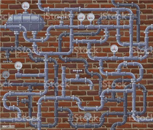 Seamless Pipeline And Brick Wall Background-vektorgrafik och fler bilder på Avlopp