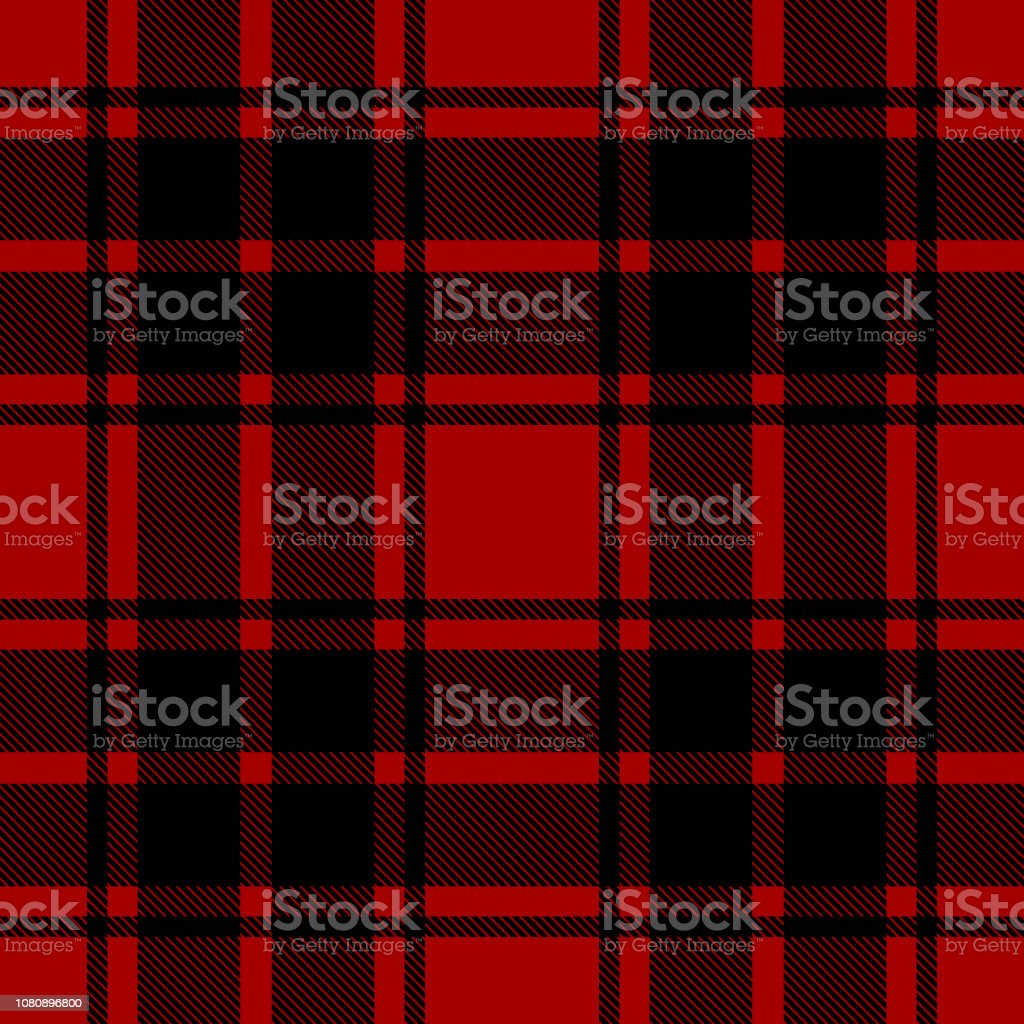 Seamless Plaid Tartan Check Pattern Black And Red Design For Wallpaper Fabric Textile Wrapping Simple Background Stock Illustration Download Image