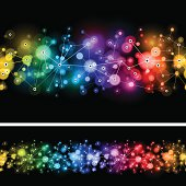 Seamless horizontal rainbow network designs on a black background.  EPS 10 file using transparencies.