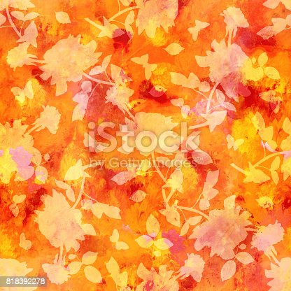 istock Seamless red and yellow pattern with roses and butterflies silho 818392278