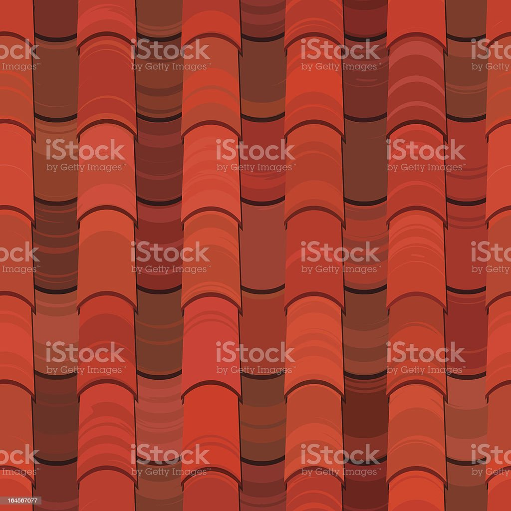 Seamless red clay roof tiles vector art illustration