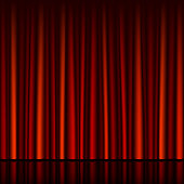 Horizontally seamless vector illustration of a red curtain with stage