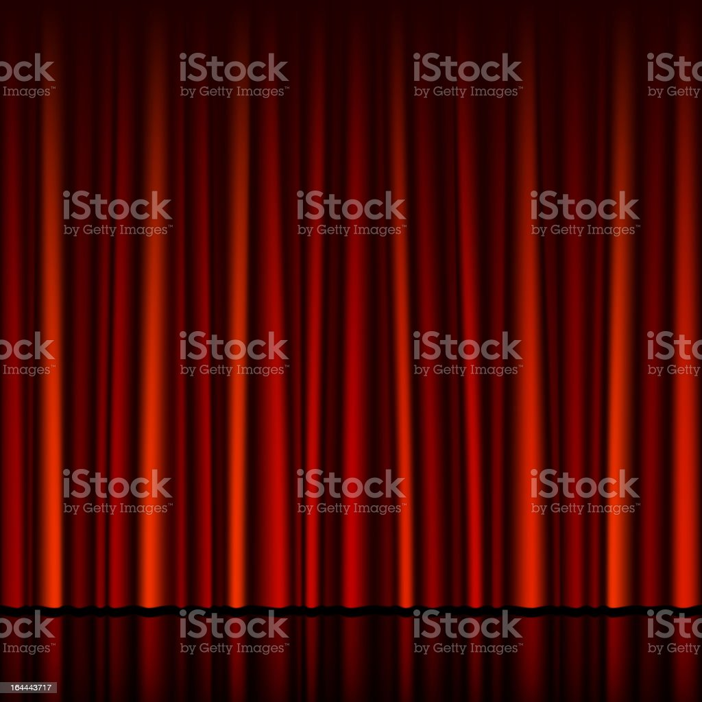 Seamless red curtain with stage vector art illustration