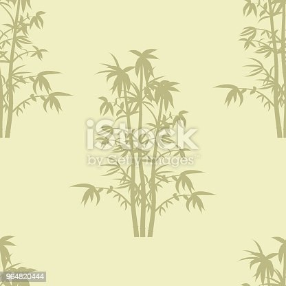 Seamless Repeat Background Pattern Of Bammboo Plants In Silhouette Stock Vector Art & More Images of Abstract 964820444