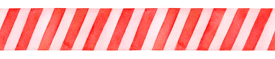 Seamless repeatable border of red and white decorative pattern with diagonal stripes.