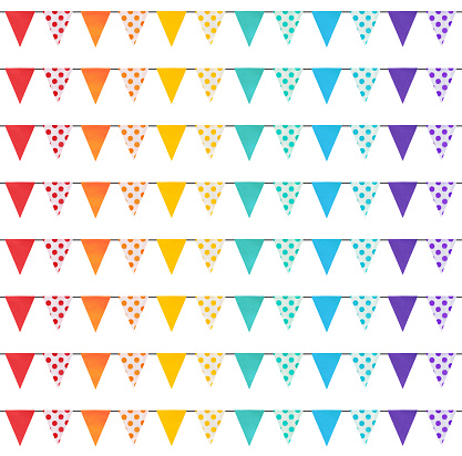 Seamless repeatable pattern with rainbow colored pennant flags banners.