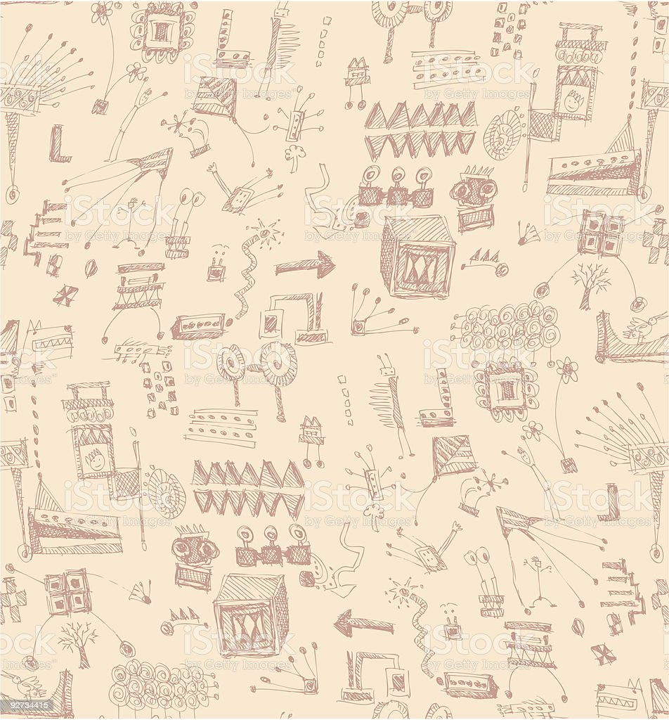 seamless scribbles pattern royalty-free stock vector art
